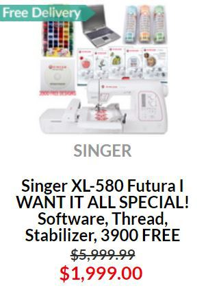 Singer XL-580 Embroidery Machine Big Special